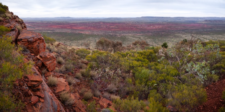 Marandoo Iron Ore Mine as seen from Mount Bruce, Karijini National Park, Western Australia