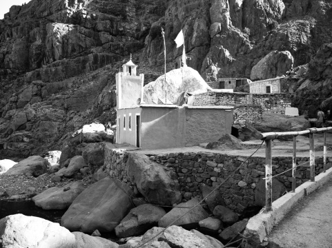 Mosque nestled in the high passes of Toubkal National Park, Morocco