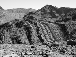 Banded geology of Todra Gorge, Morocco