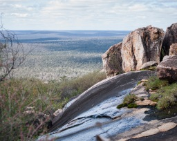 Water draining over the granite outcrops, Mount Cooke, Monadnocks Conservation Park